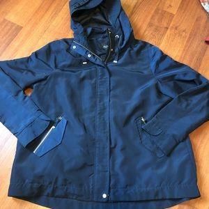 Alfred Sung Navy Blue Hooded Rain Coat